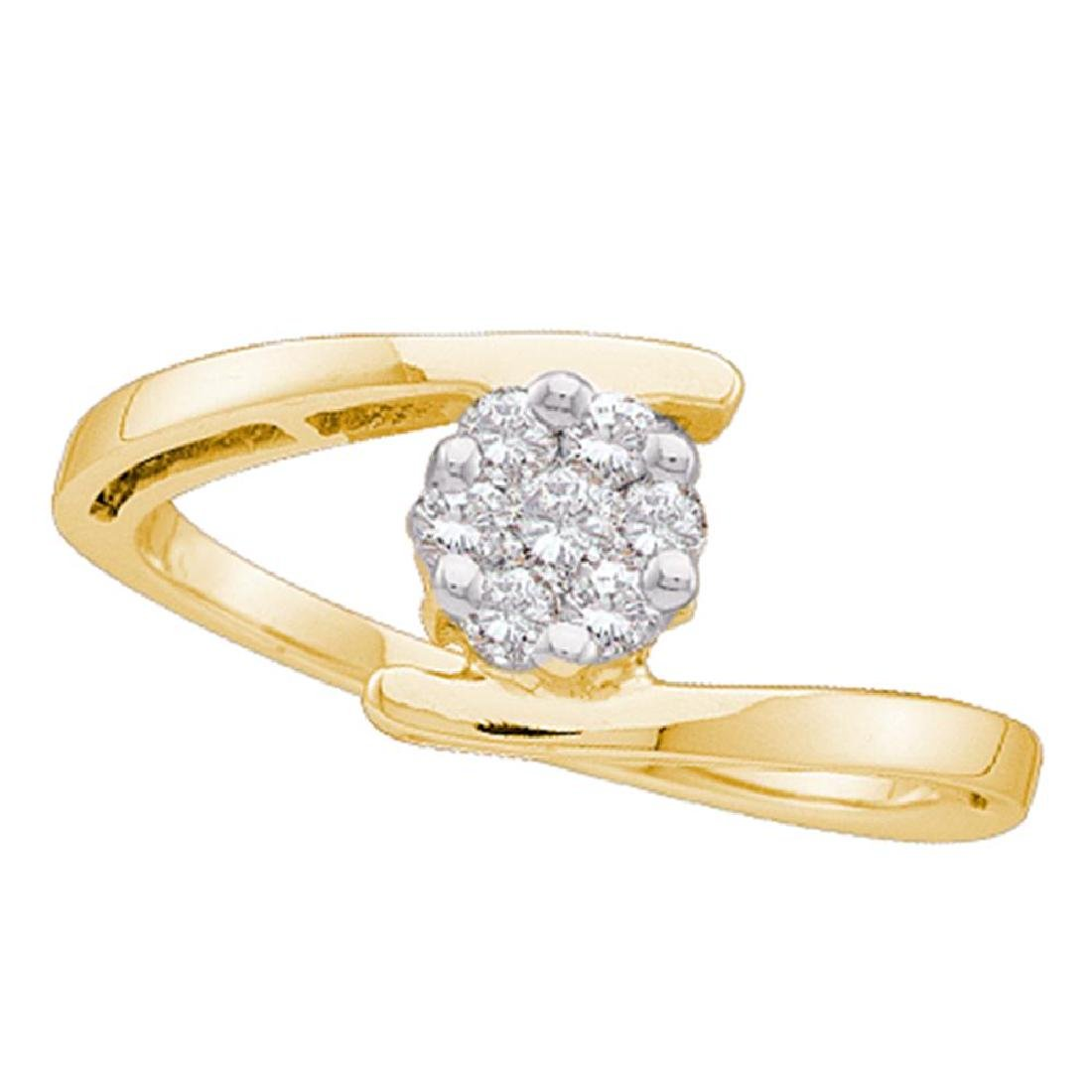 0.25 CTW Diamond Cluster Ring 14KT Yellow Gold -