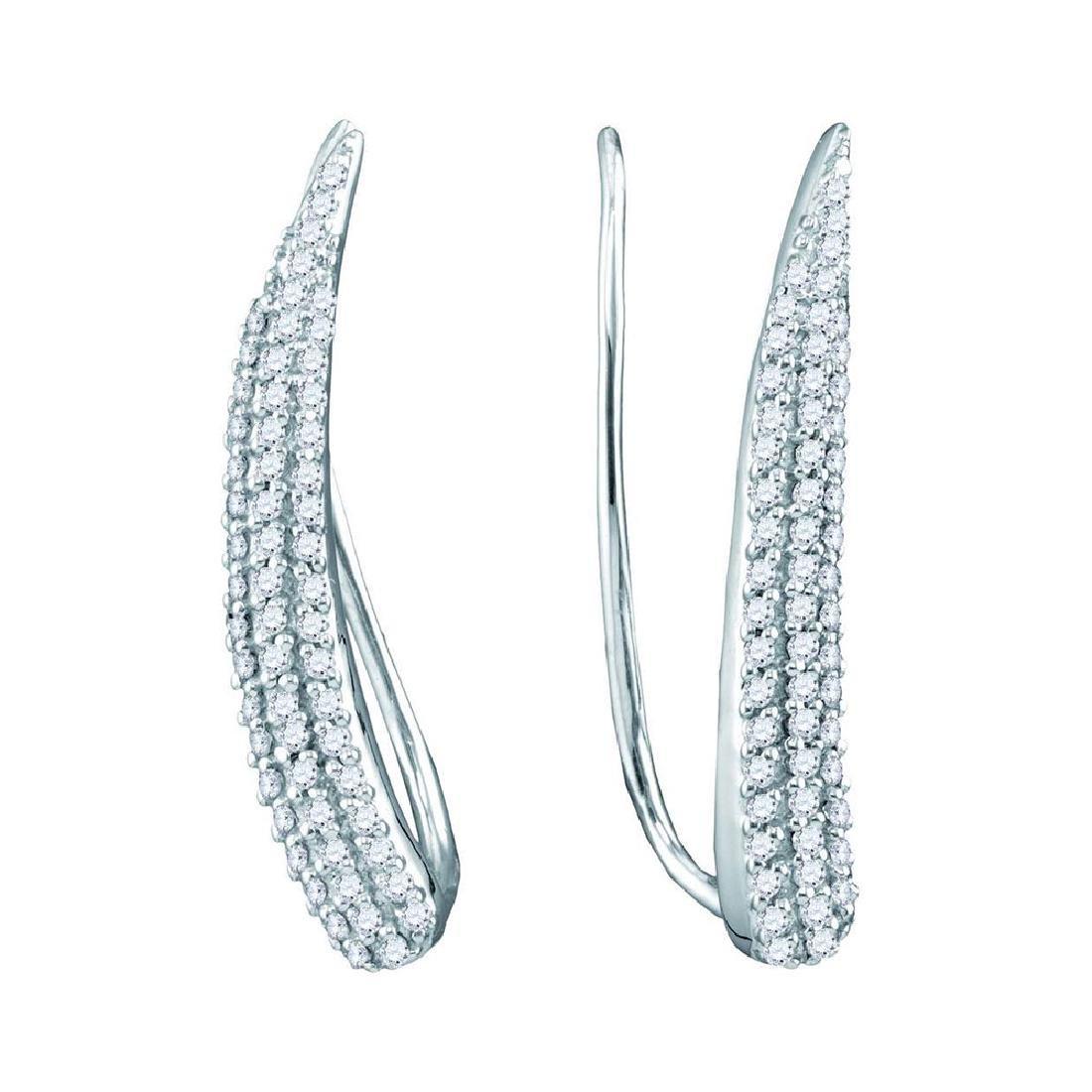 0.32 CTW Diamond Tapered Climber Earrings 10KT White