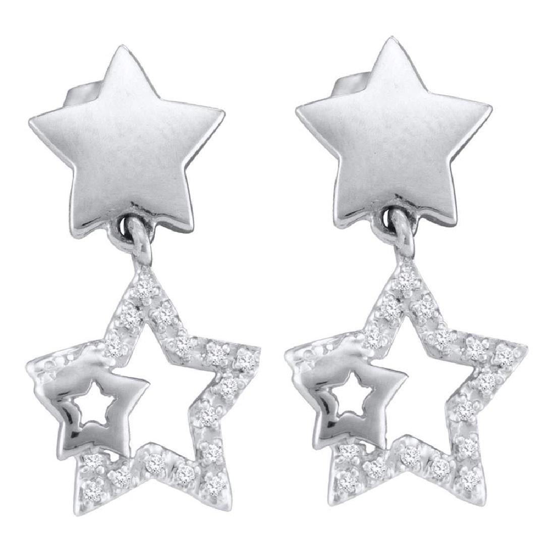 0.10 CTW Diamond Star Dangle Earrings 10KT White Gold -