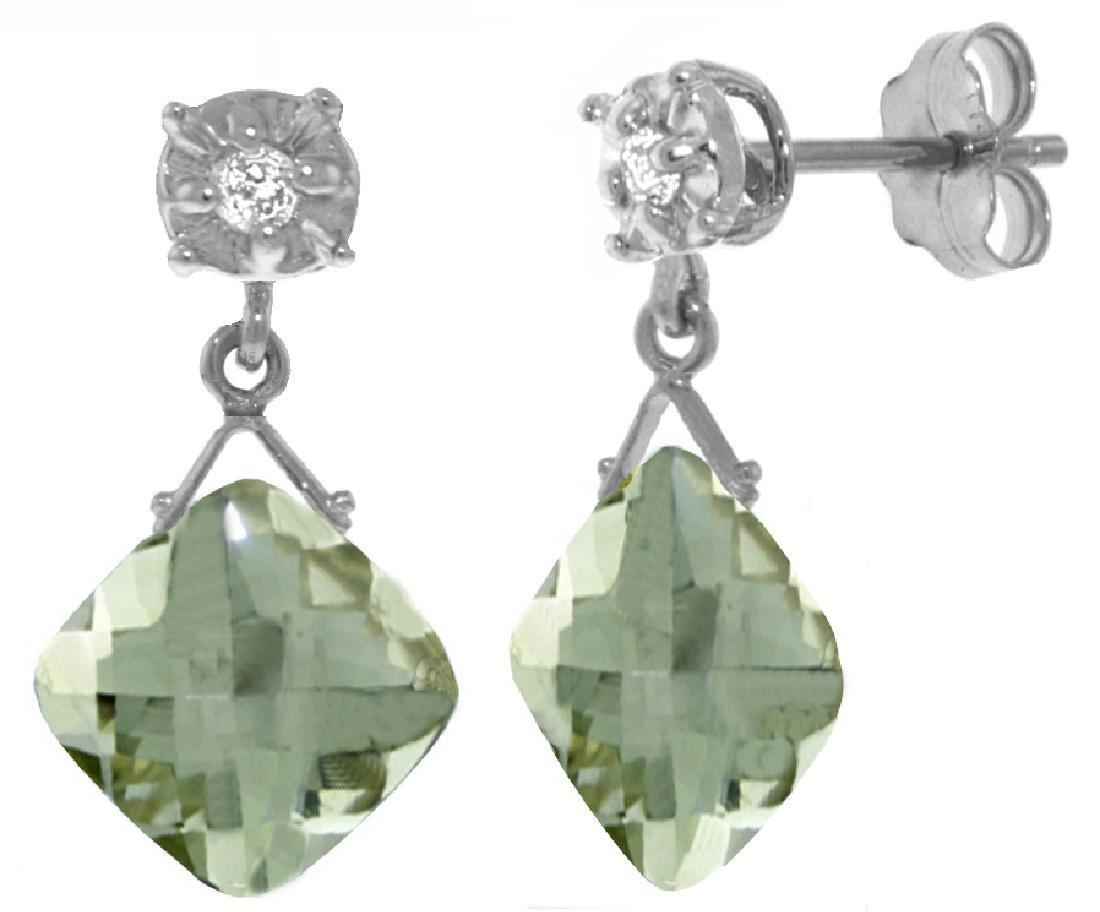 Genuine 17.56 ctw Green Amethyst & Diamond Earrings