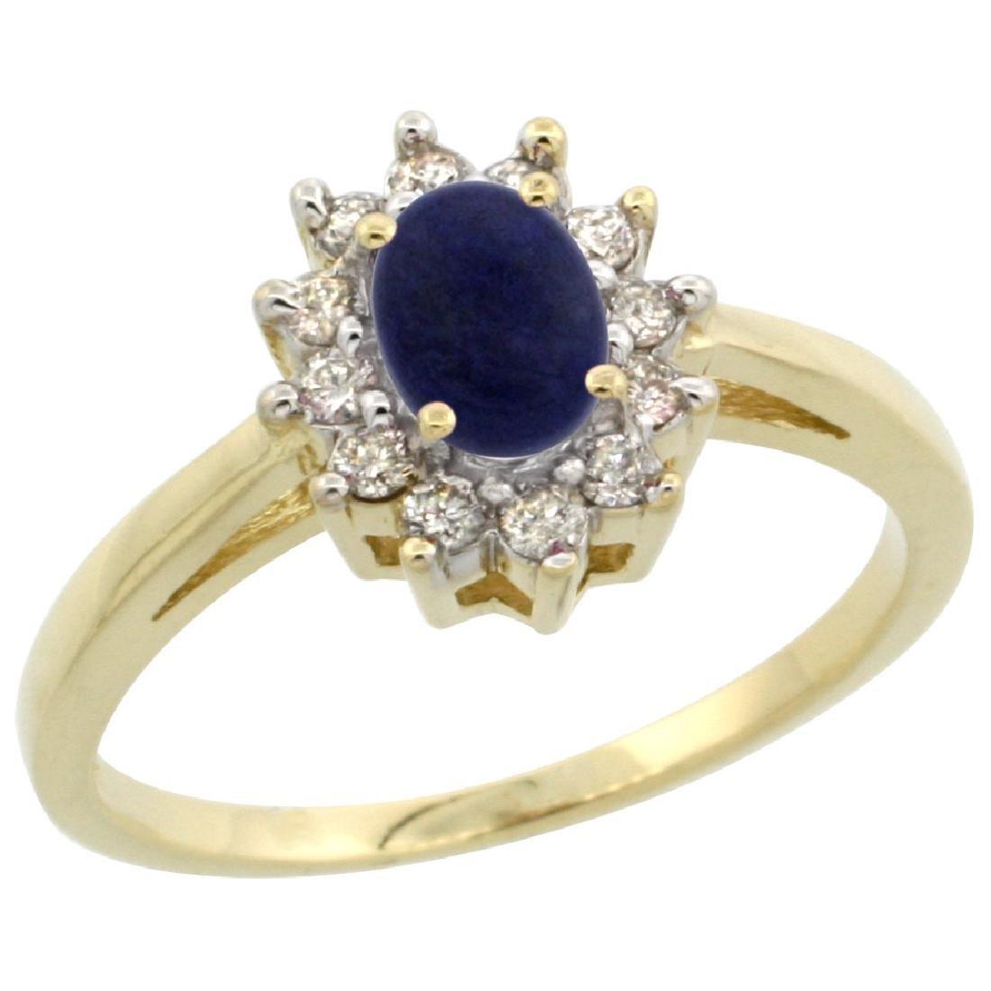 Natural 0.67 ctw Lapis & Diamond Engagement Ring 14K