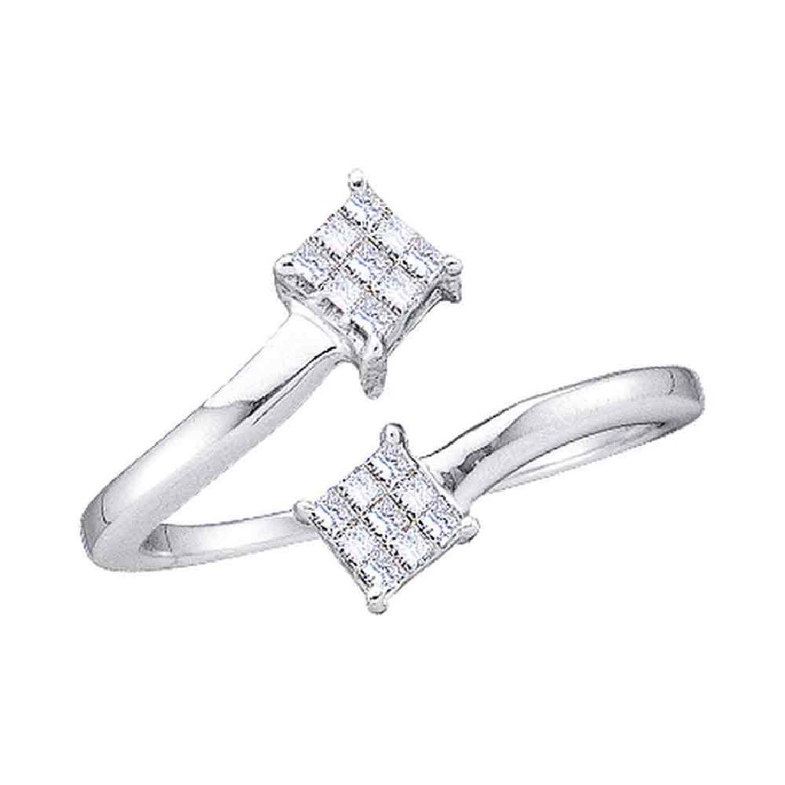 0.20 CTW Princess Diamond Cluster Bypass Bisected Ring
