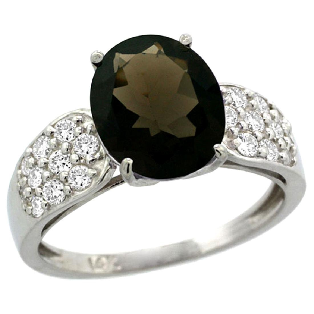 Natural 2.75 ctw smoky-topaz & Diamond Engagement Ring