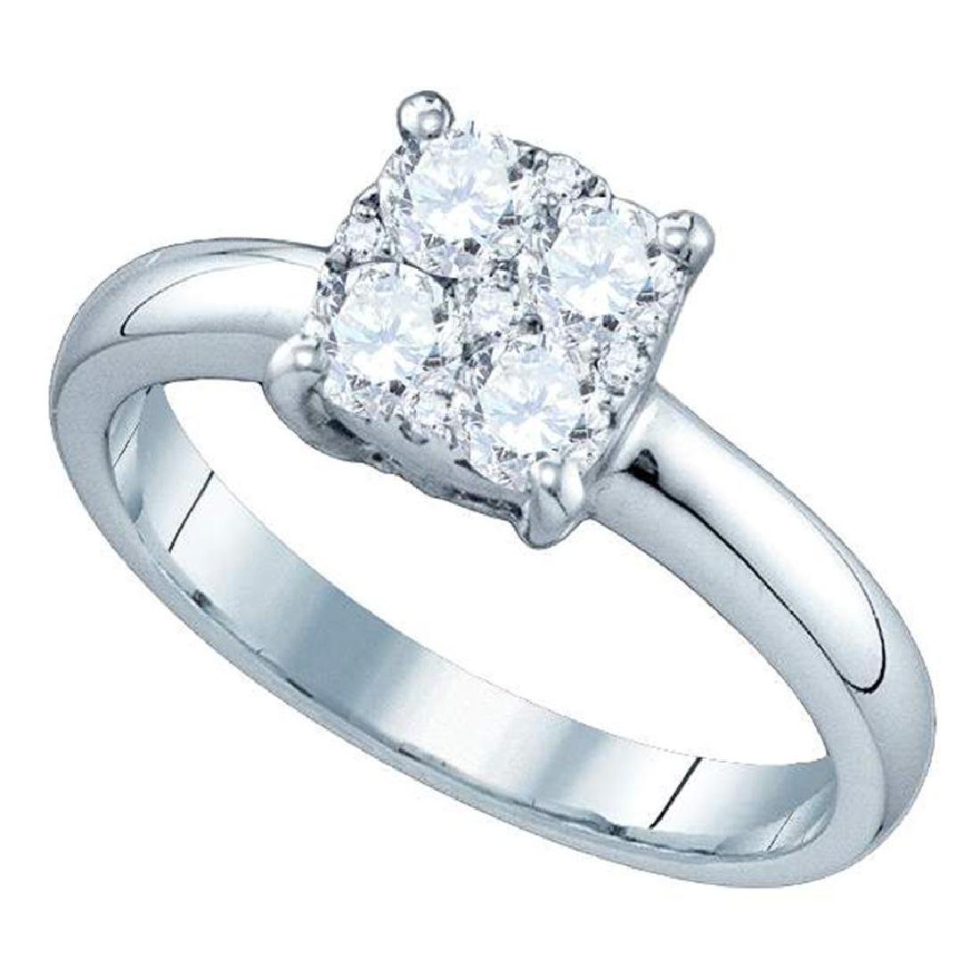0.16 CTW Diamond Cluster Bridal Engagement Ring 18KT