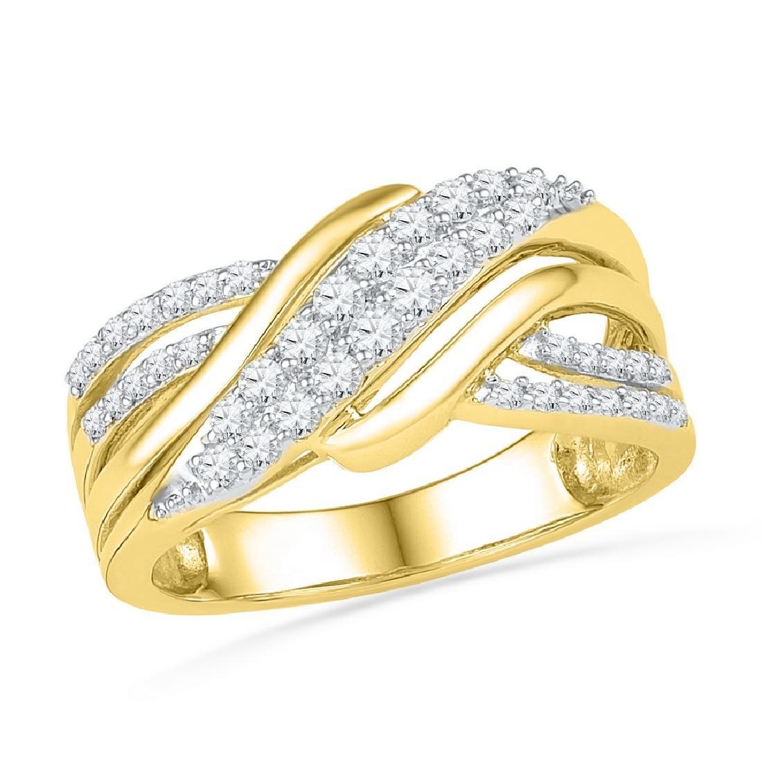 0.50 CTW Diamond Crossover Ring 10KT Yellow Gold -