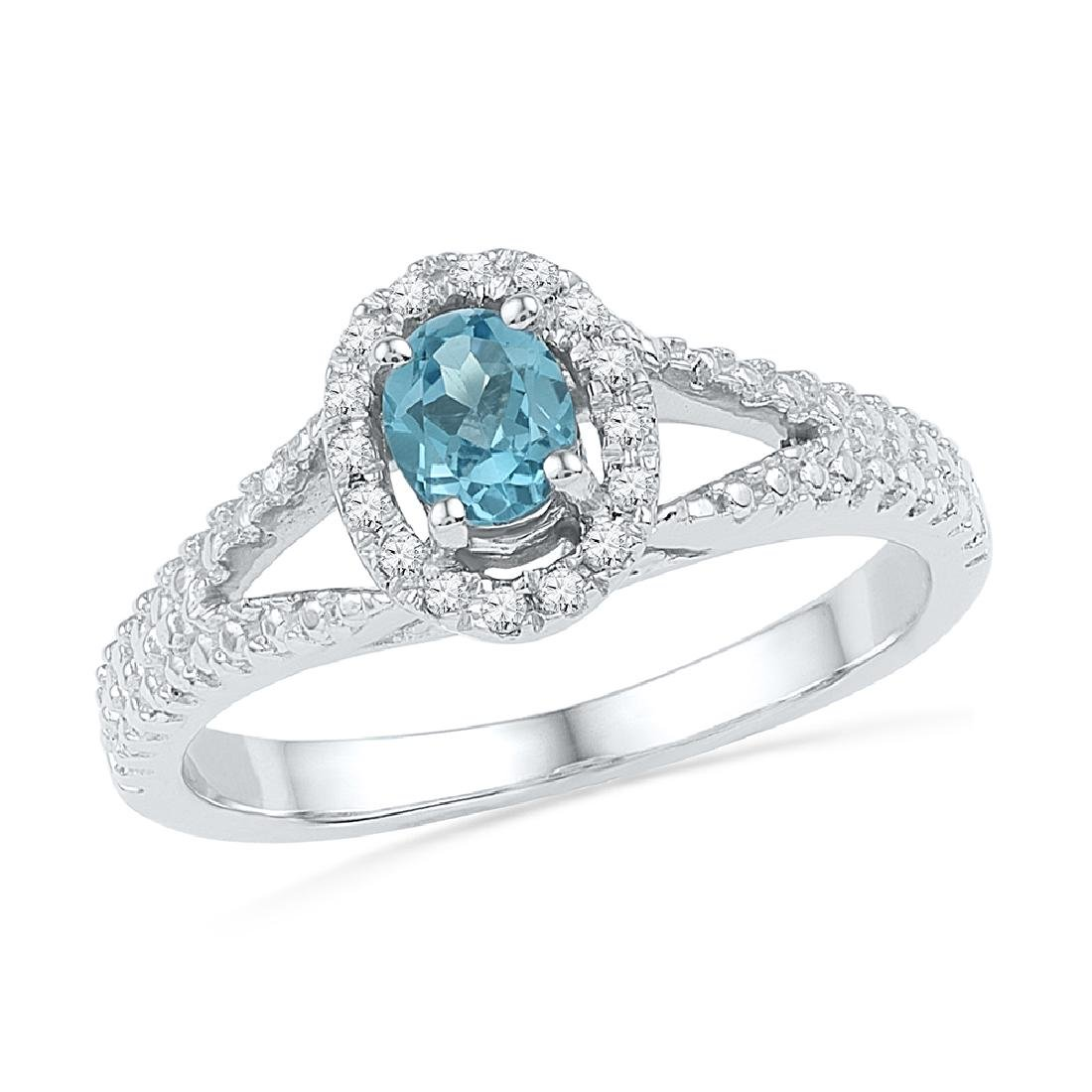0.53 CTW Oval Created Blue Topaz Solitaire Diamond Ring