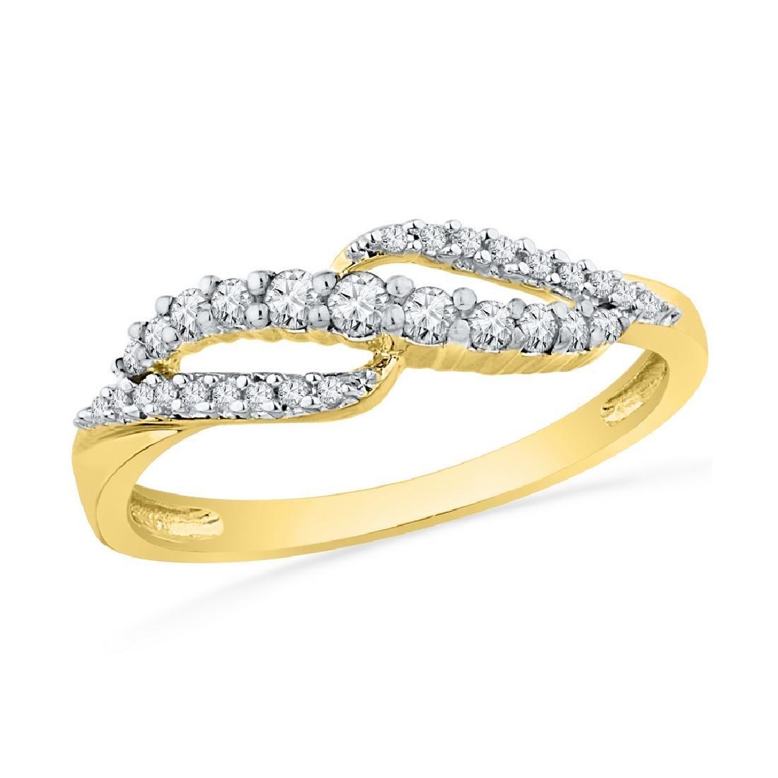 0.26 CTW Diamond Crossover Ring 10KT Yellow Gold -