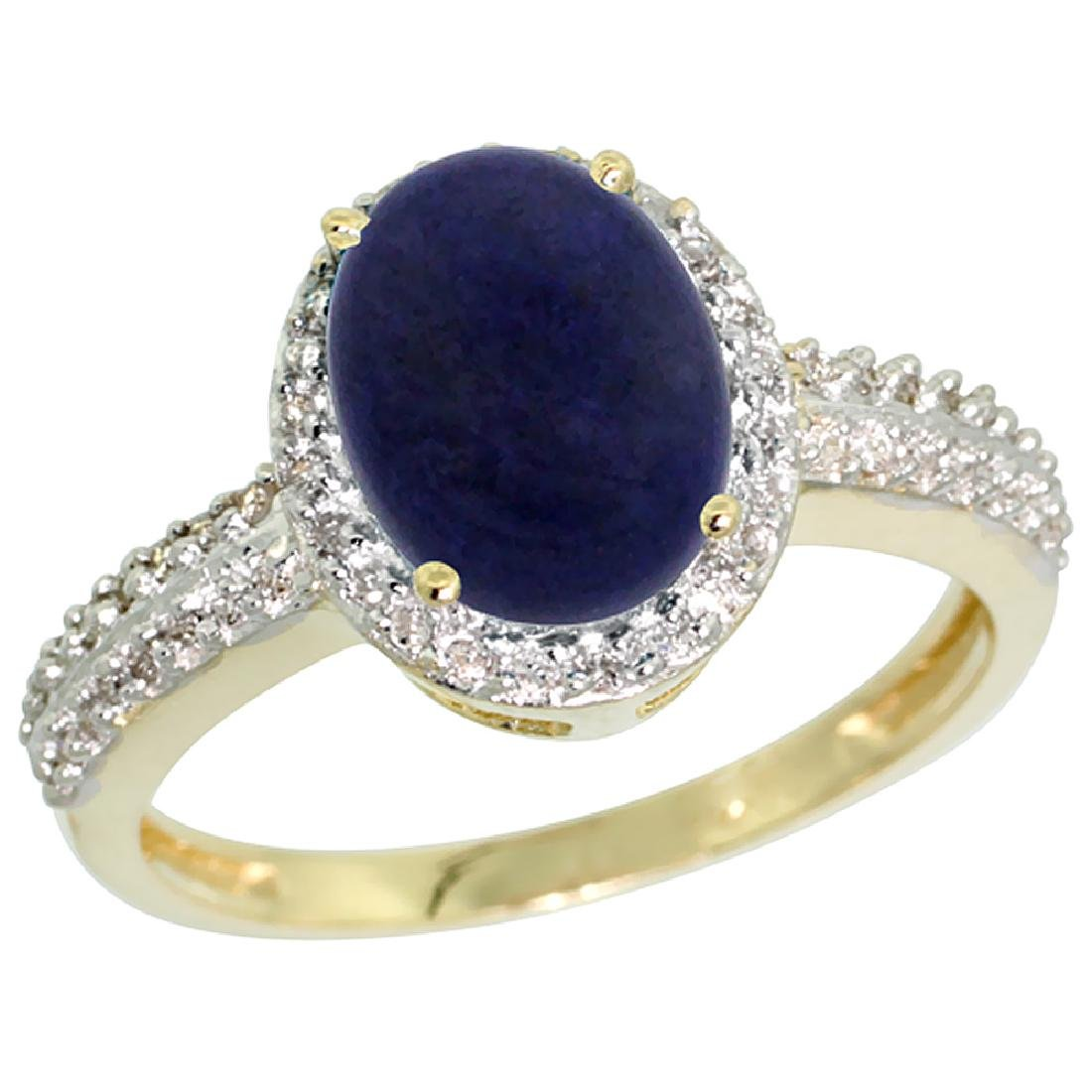 Natural 1.95 ctw Lapis & Diamond Engagement Ring 10K