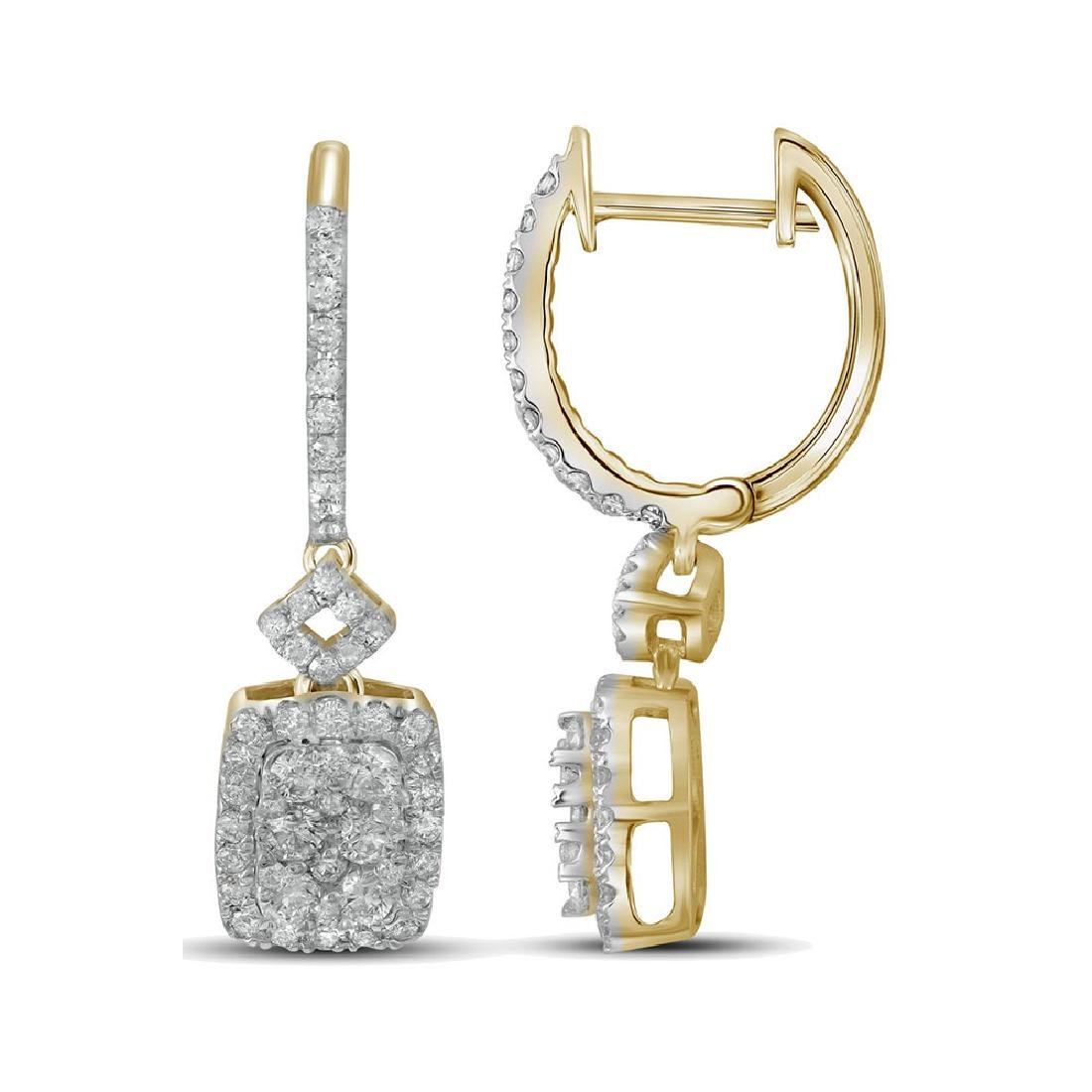 0.82 CTW Diamond Rectangle Dangle Hoop Earrings 14KT