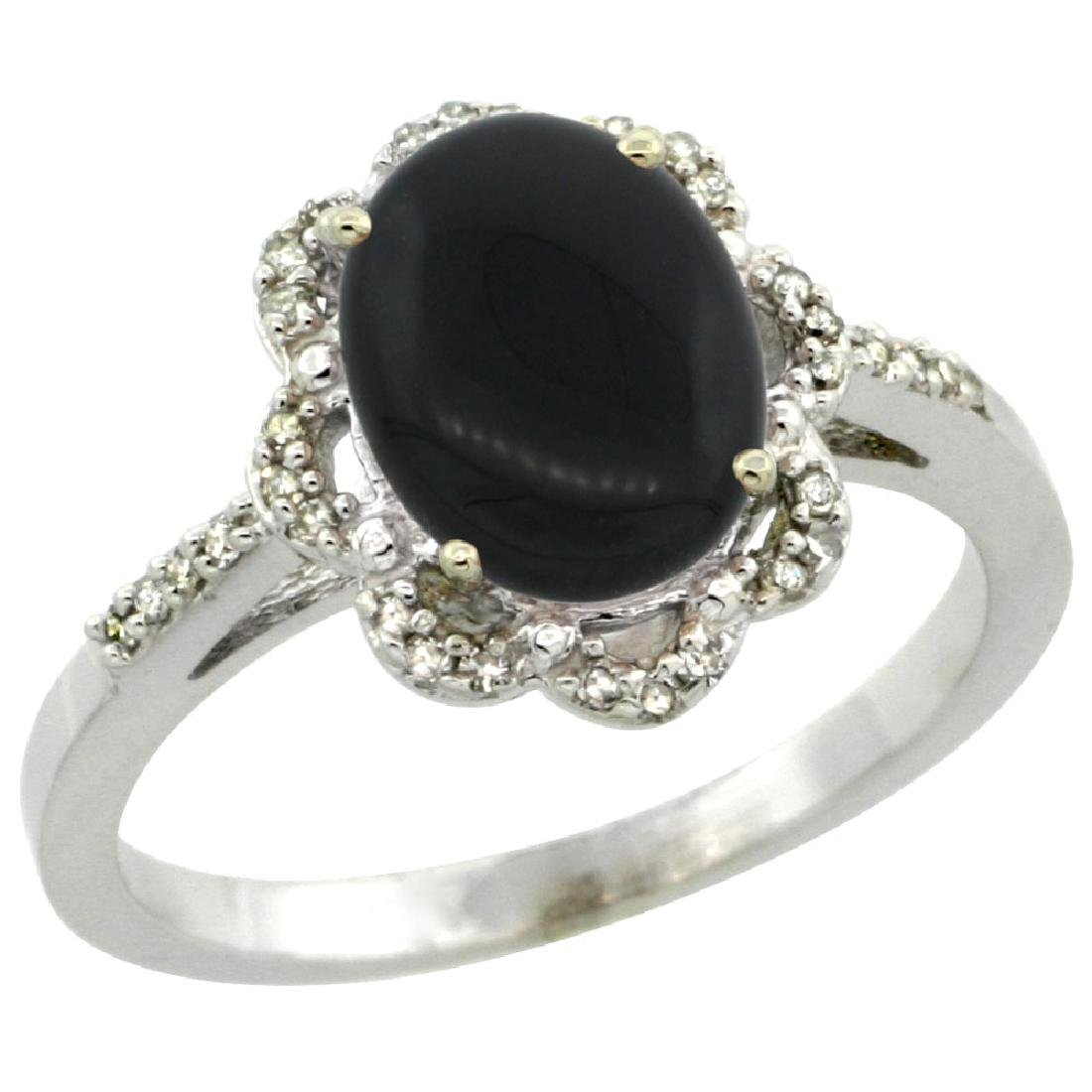 Natural 1.89 ctw Onyx & Diamond Engagement Ring 10K