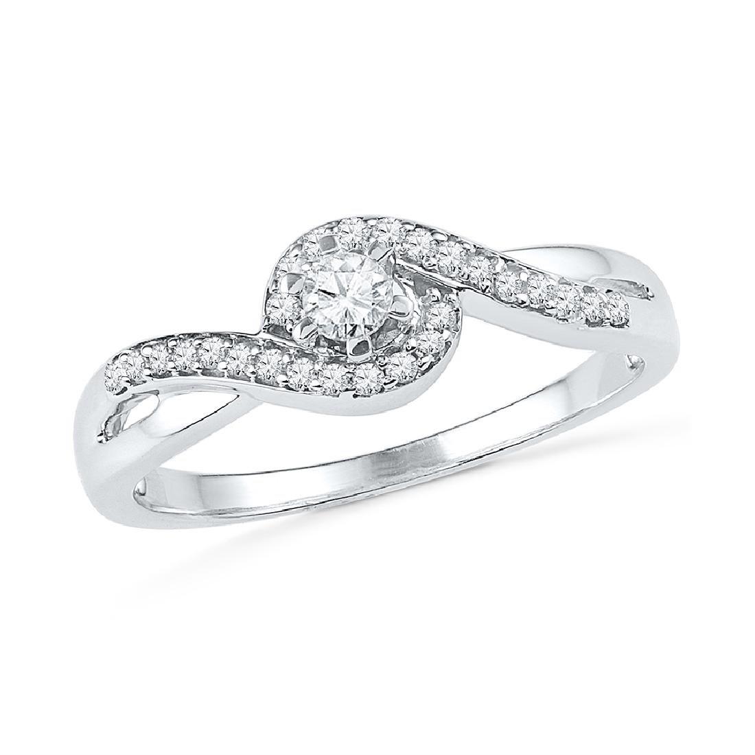 0.20 CTW Diamond Solitaire Swirl Promise Bridal Ring