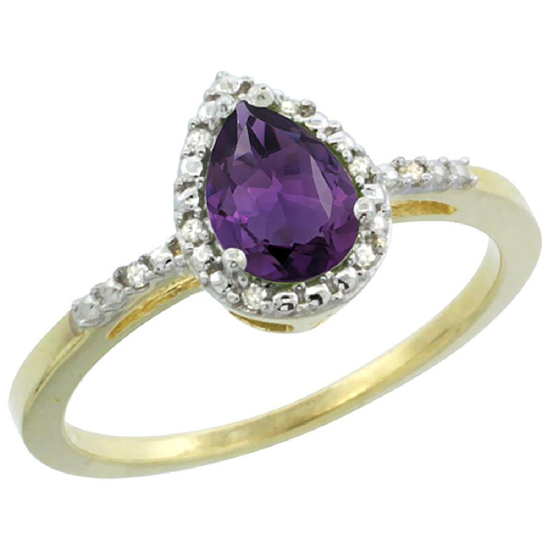 Natural 1.53 ctw amethyst & Diamond Engagement Ring 10K