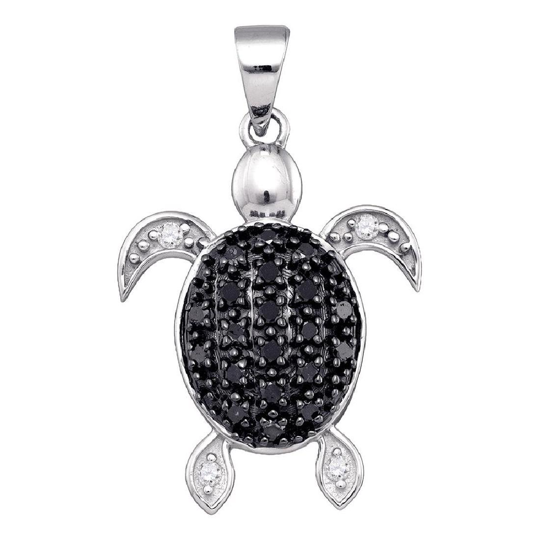 0.30 CTW Black Color Diamond Turtle Tortoise Shell