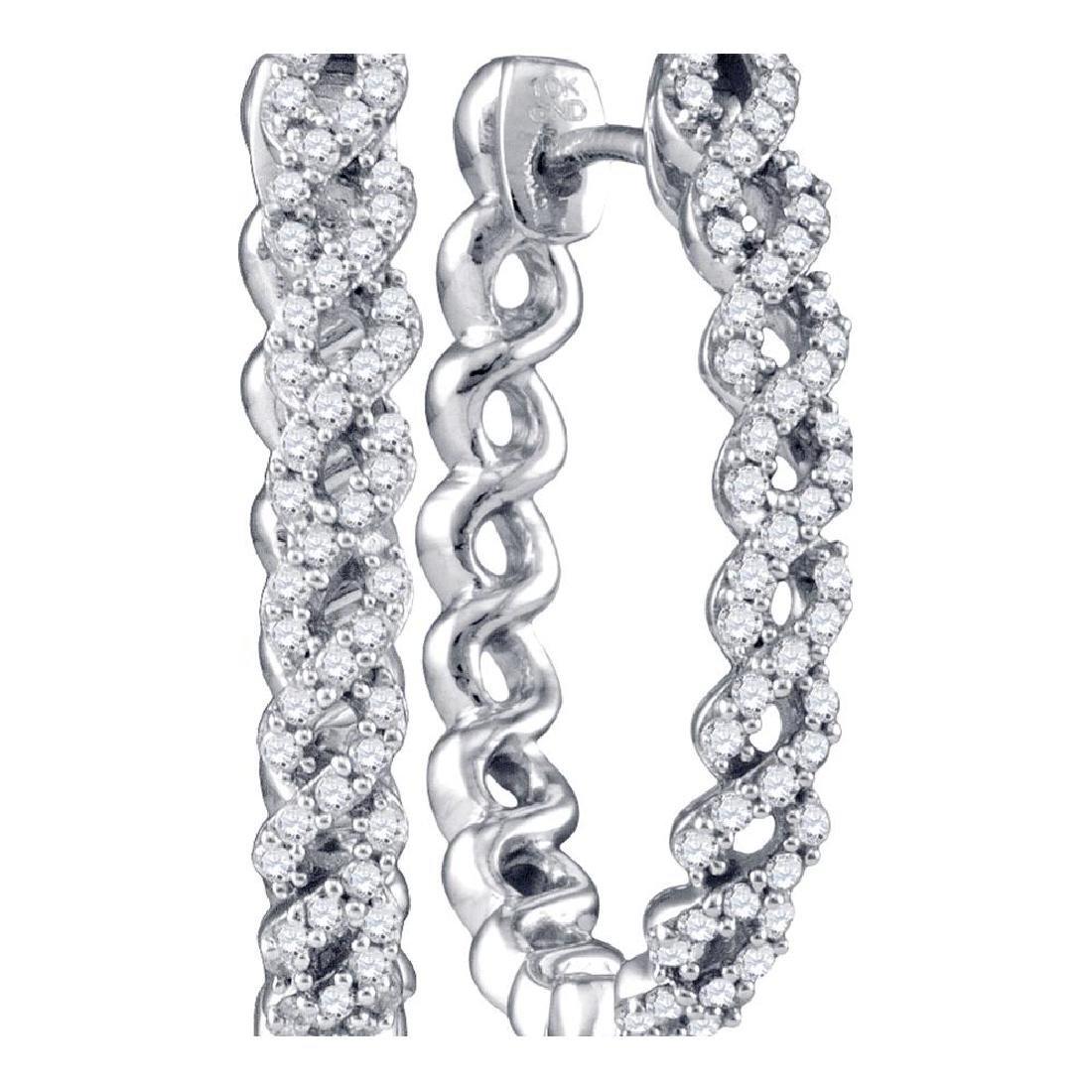 0.50 CTW Diamond Woven Hoop Earrings 10KT White Gold -
