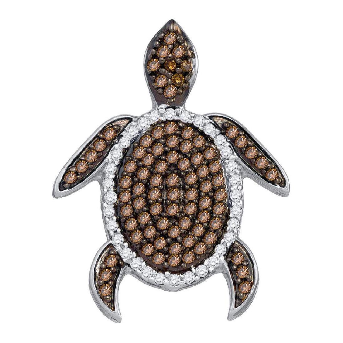 0.35 CTW Cognac-brown Color Diamond Sea Turtle Tortoise