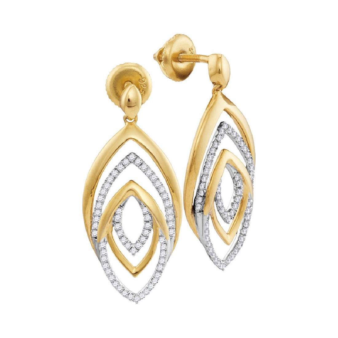 0.35 CTW Diamond Dangle Earrings 10KT Yellow Gold -