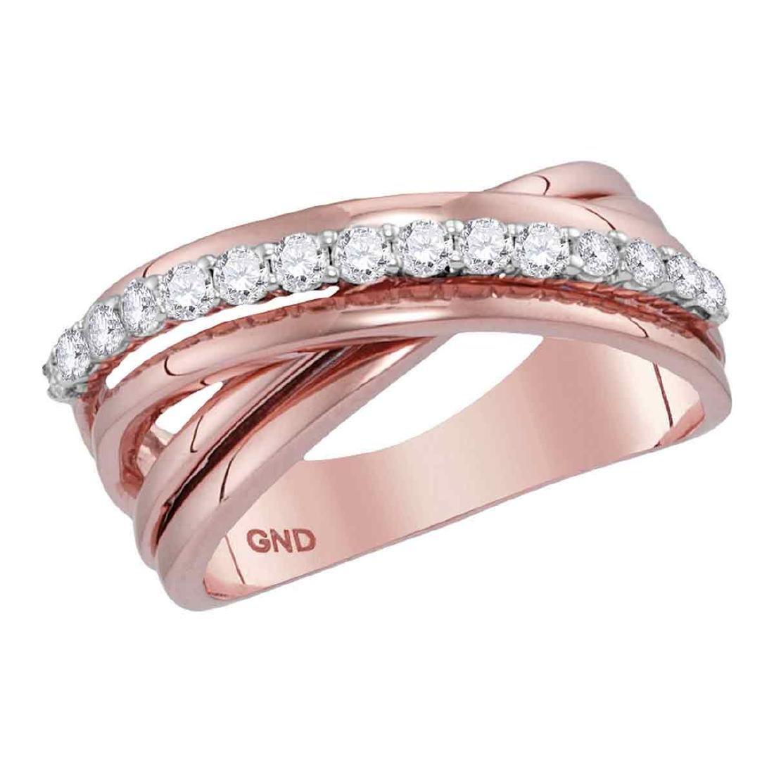 0.42 CTW Diamond Crossover Ring 14KT Rose Gold -