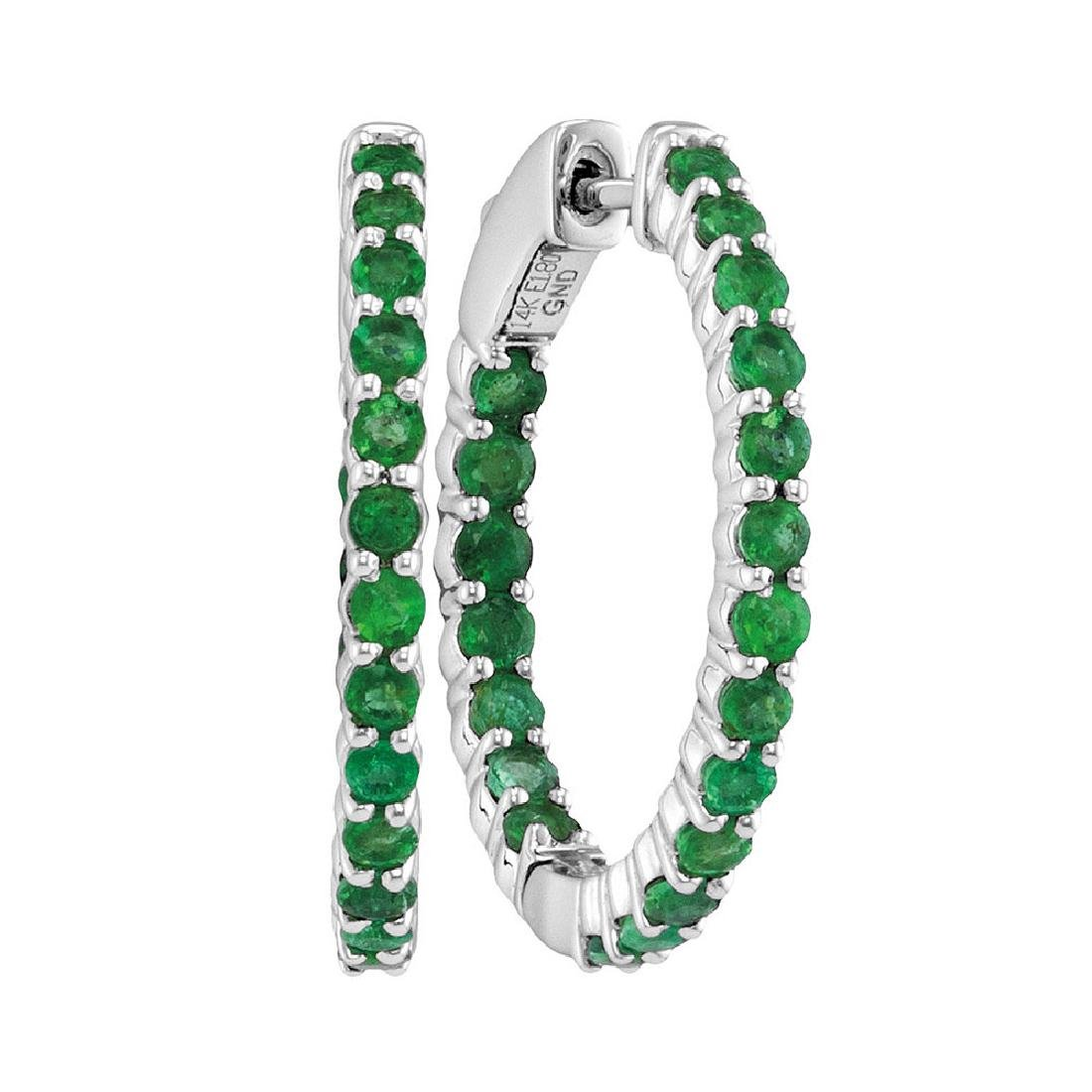 2 CTW Emerald In/Out Hoop Earrings 14KT White Gold -