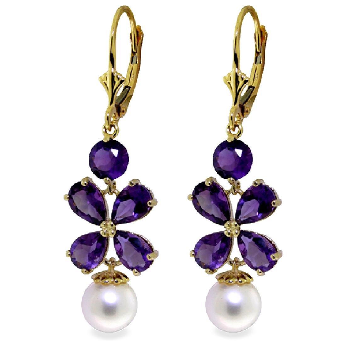 Genuine 6.28 ctw Amethyst & Pearl Earrings Jewelry 14KT