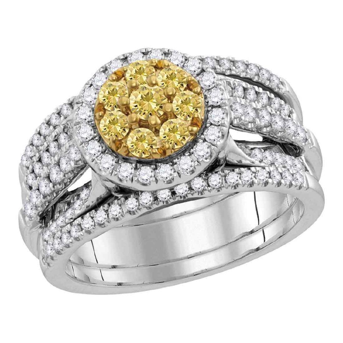 1.05 CTW Yellow Diamond Bridal Engagement Ring 14KT