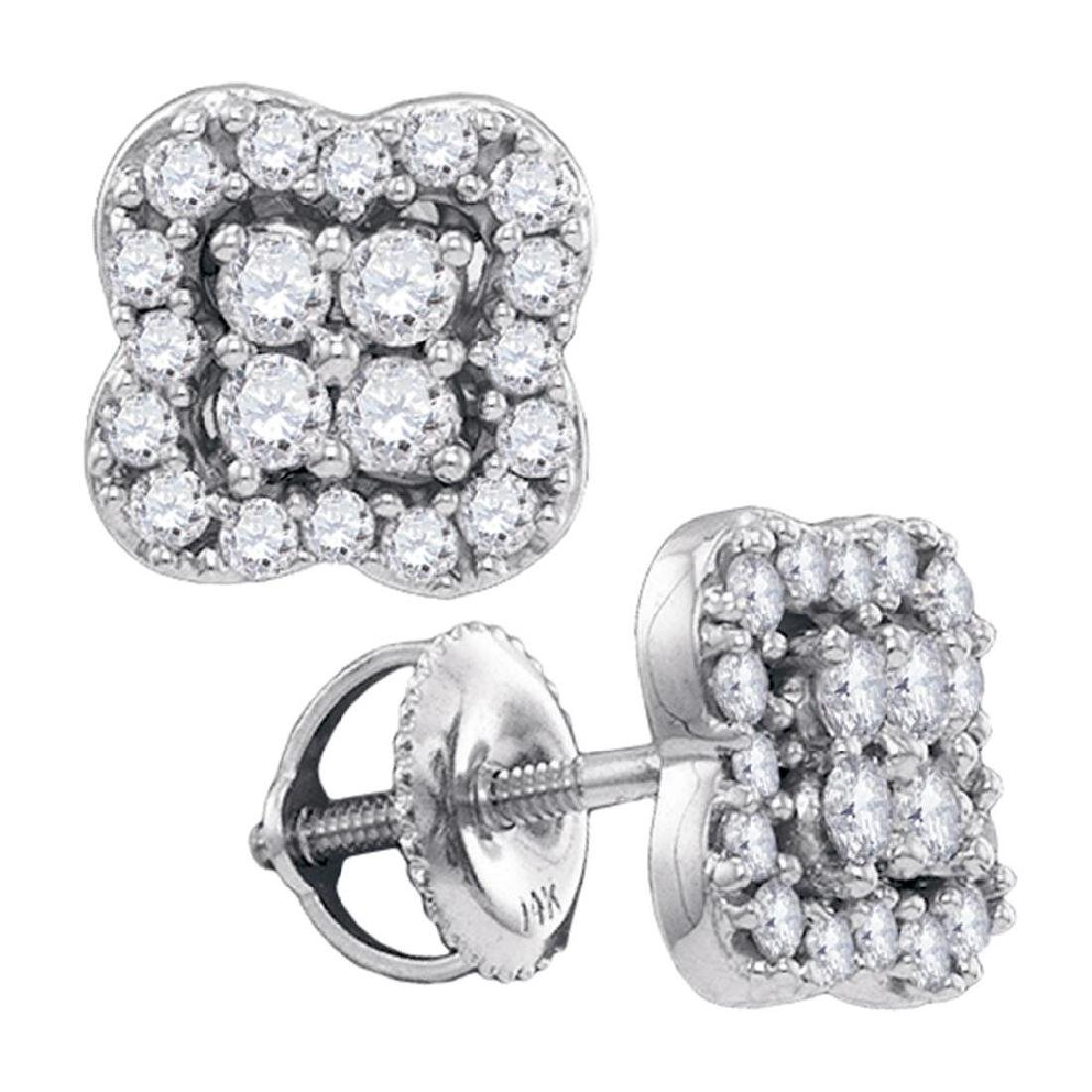 0.55 CTW Diamond Square-shape Cluster Stud Screwback