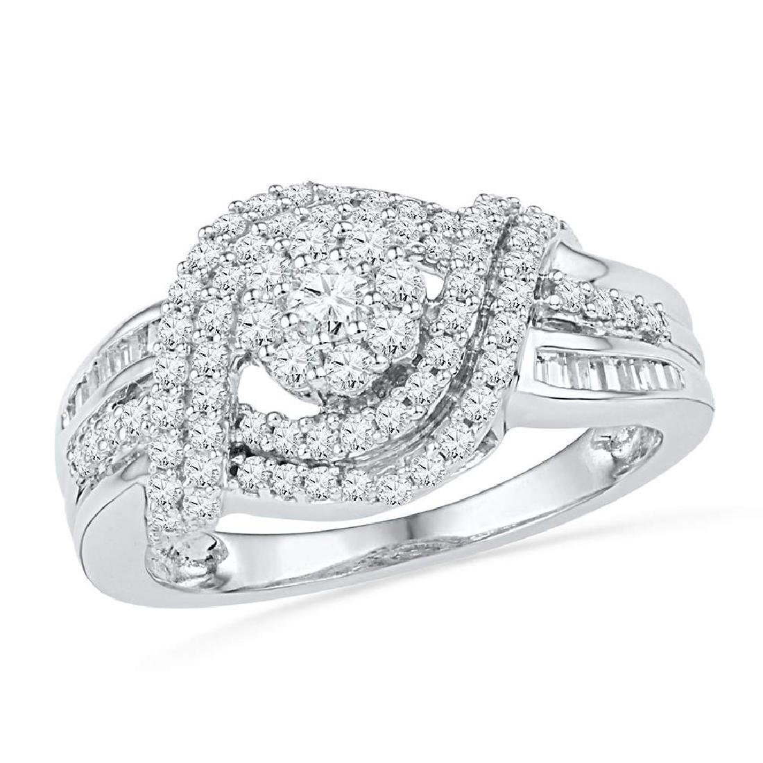 0.75 CTW Diamond Cluster Bridal Engagement Ring 10KT