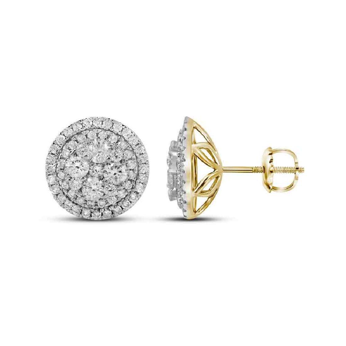 1.68 CTW Diamond Flower Cluster Earrings 14KT Yellow