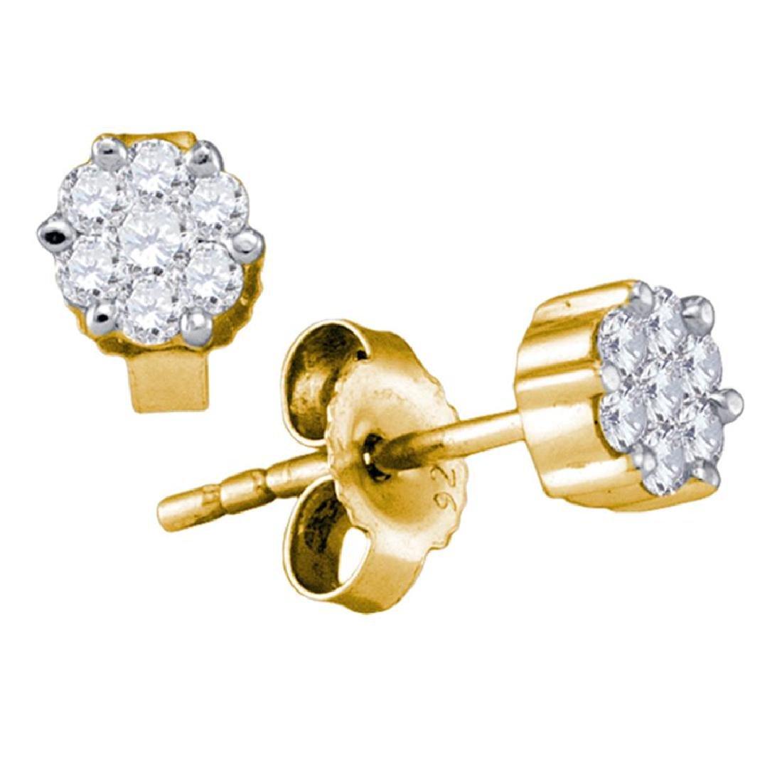 0.35 CTW Diamond Flower Cluster Earrings 14KT Yellow