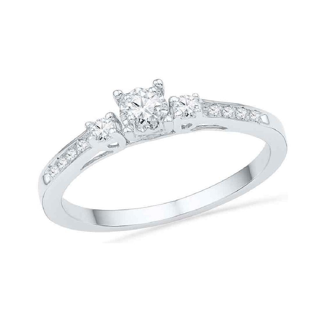 0.16 CTW Diamond 3-stone Promise Bridal Ring 10KT White
