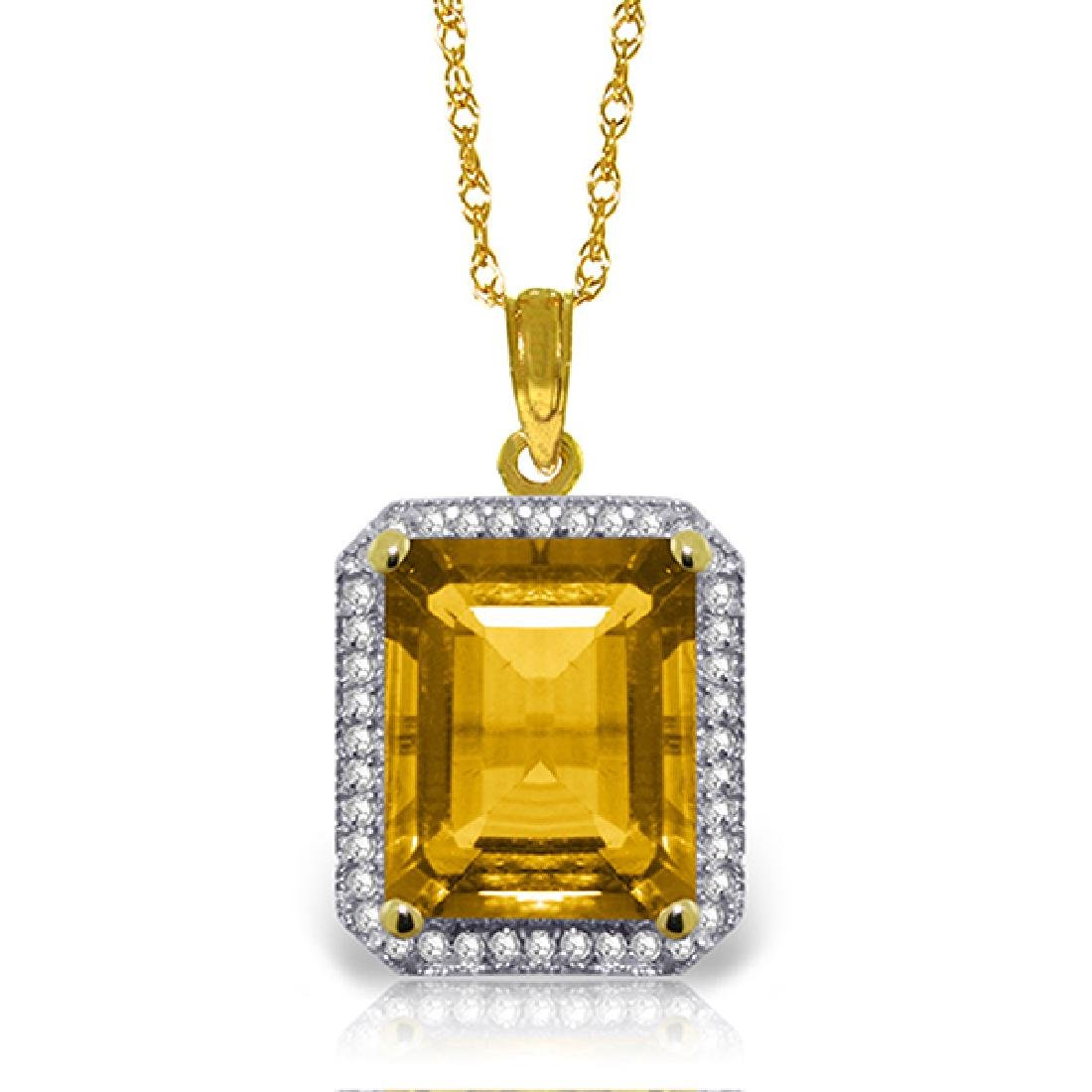 Genuine 5.4 ctw Citrine & Diamond Necklace Jewelry 14KT