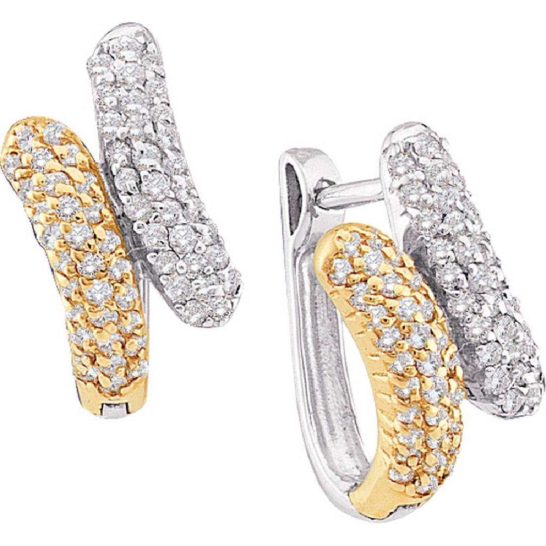 0.50 CTW Diamond Bypass Huggie Hoop Earrings 14KT