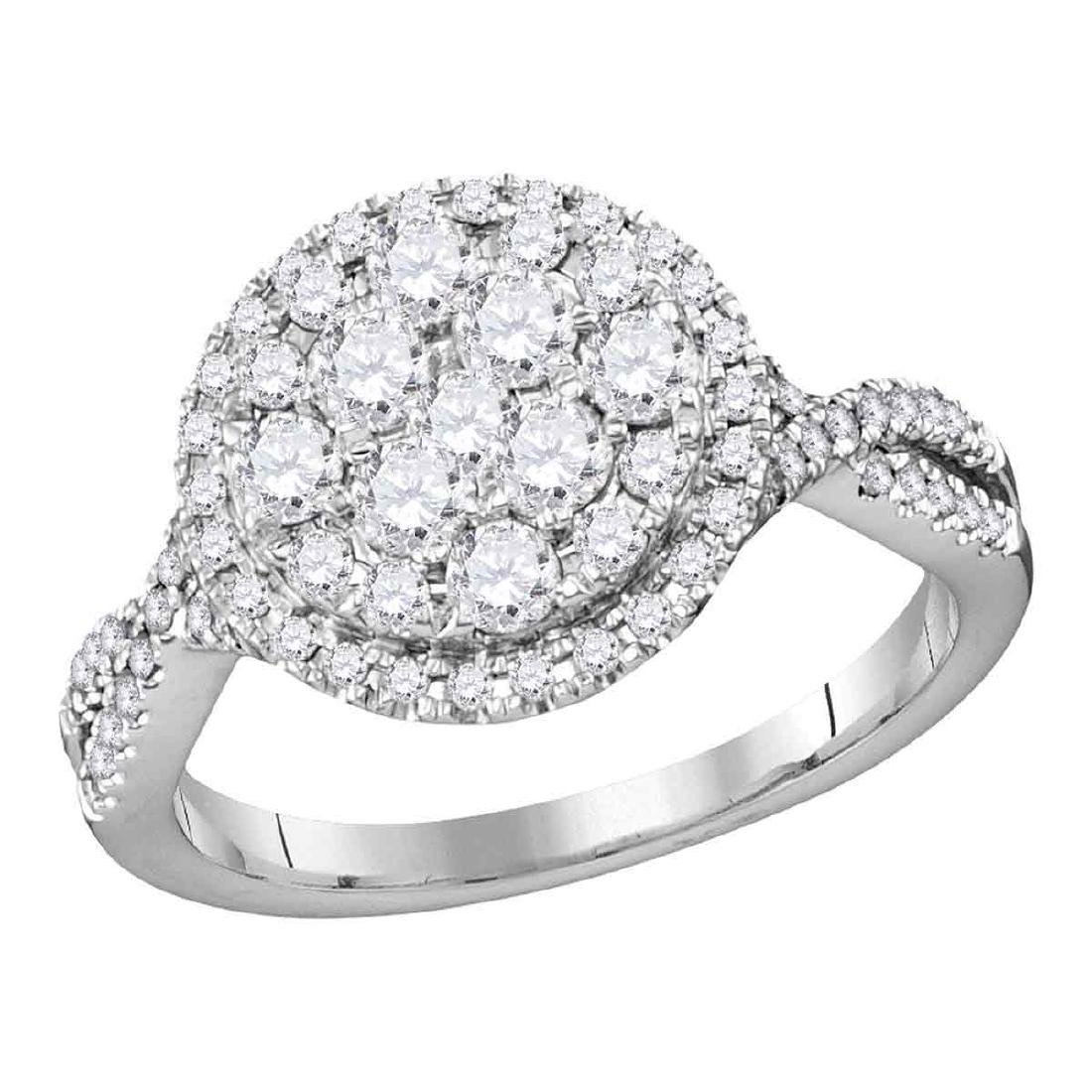 1.02 CTW Diamond Cluster Bridal Engagement Ring 14KT