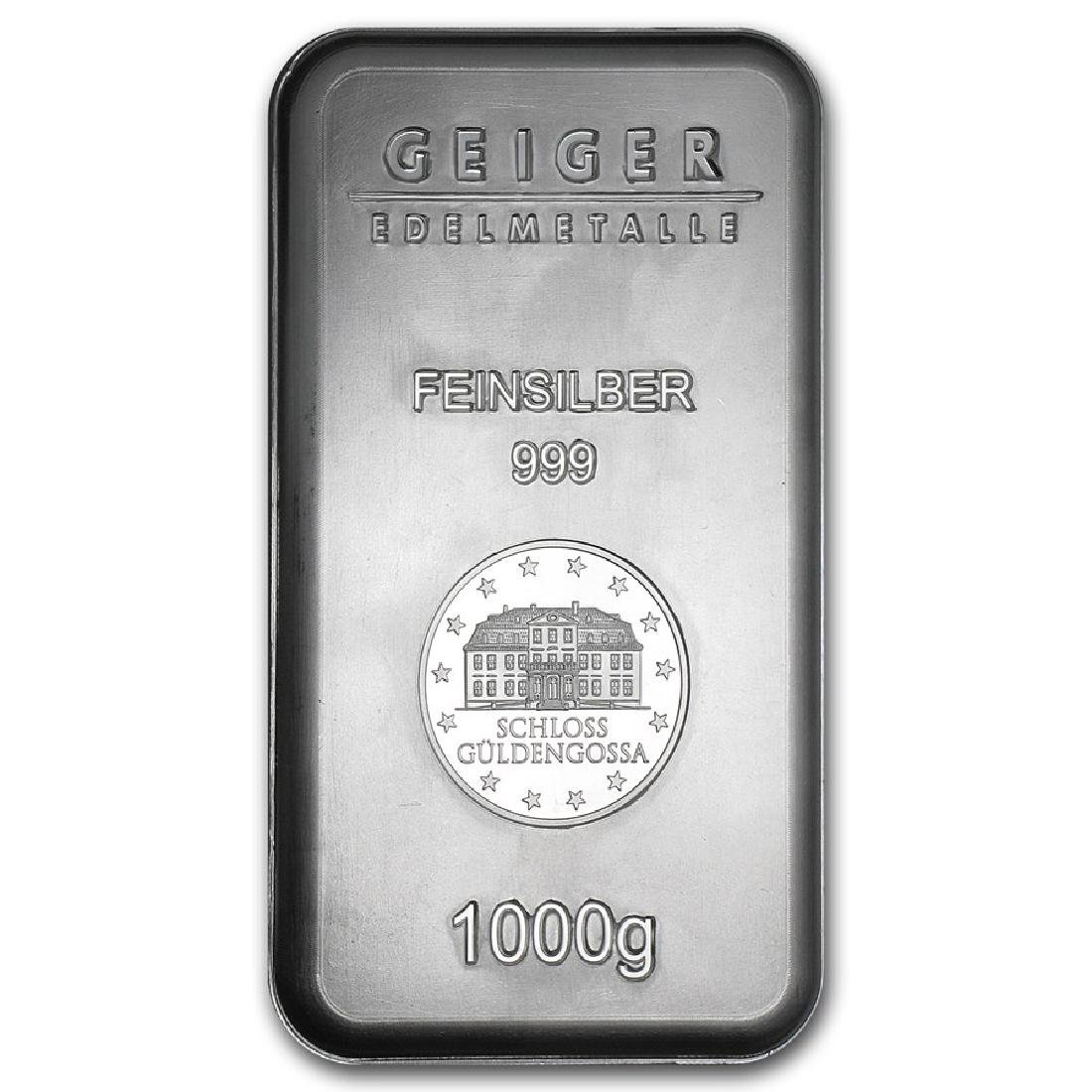 Genuine 1 kilo 0.999 Fine Silver Bar - Geiger Security