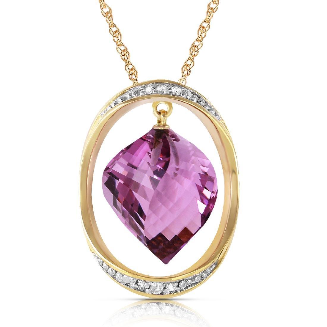 Genuine 10.85 ctw Amethyst & Diamond Necklace Jewelry