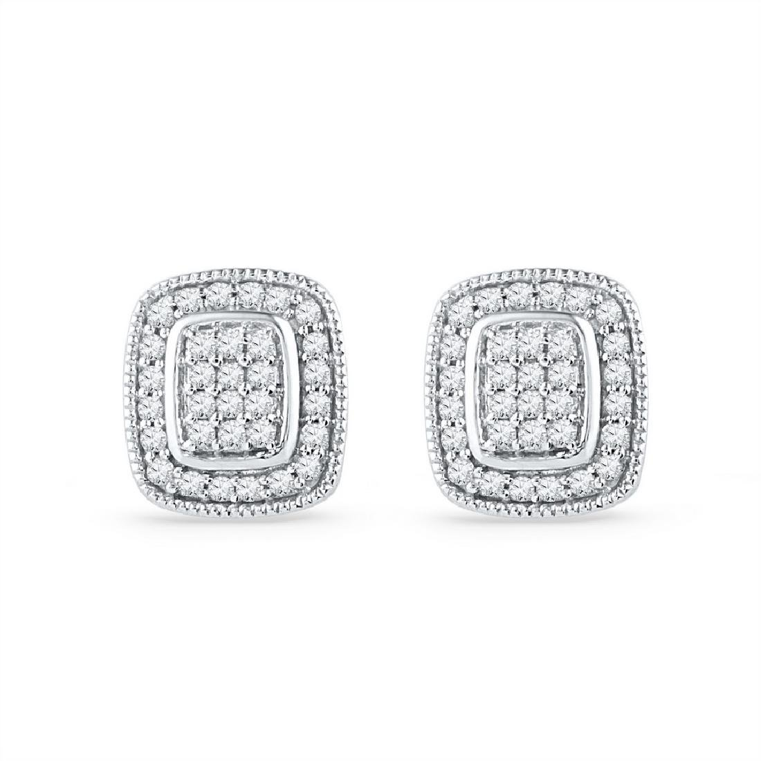 0.25 CTW Diamond Square Cluster Stud Earrings 10KT