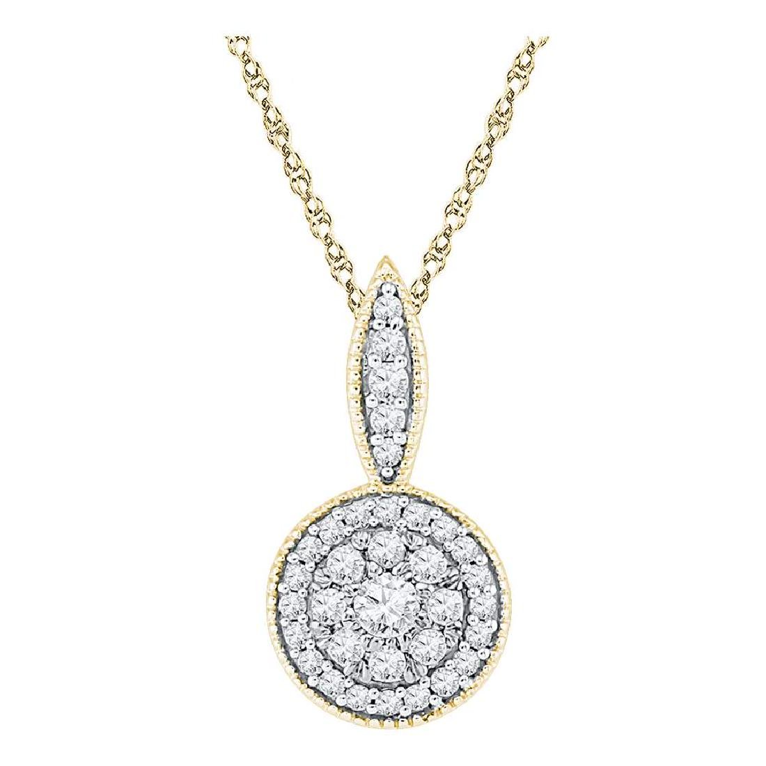 0.33 CTW Diamond Cluster Pendant 10KT Yellow Gold -