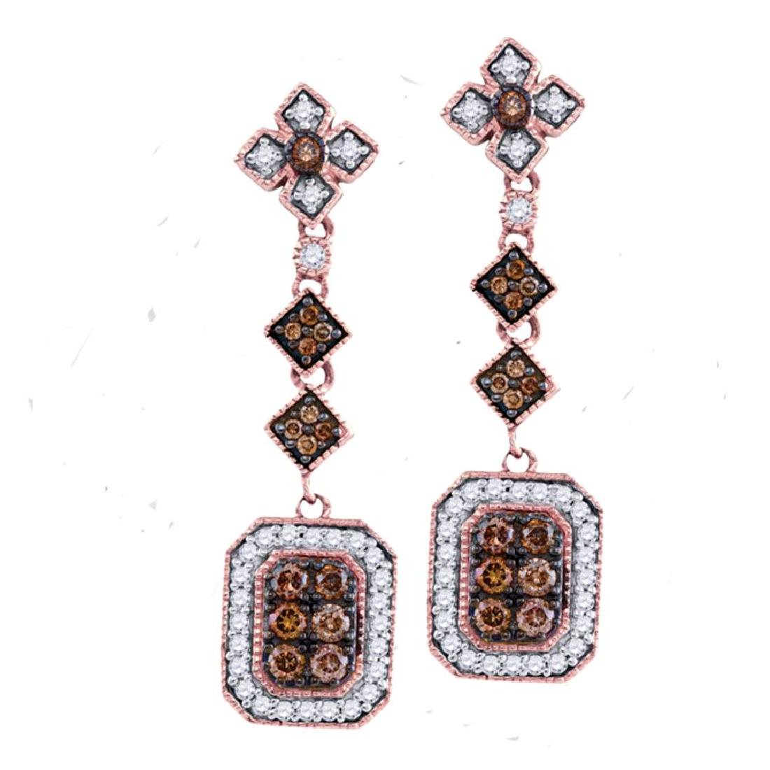 0.63 CTW Brown Color Diamond Dangle Earrings 14KT Rose