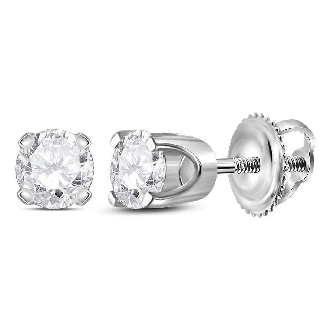 0.39 CTW Diamond Solitaire Stud Earrings 14KT White