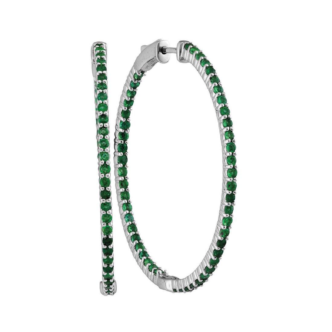 3 CTW Emerald Hoop Earrings 14KT White Gold -