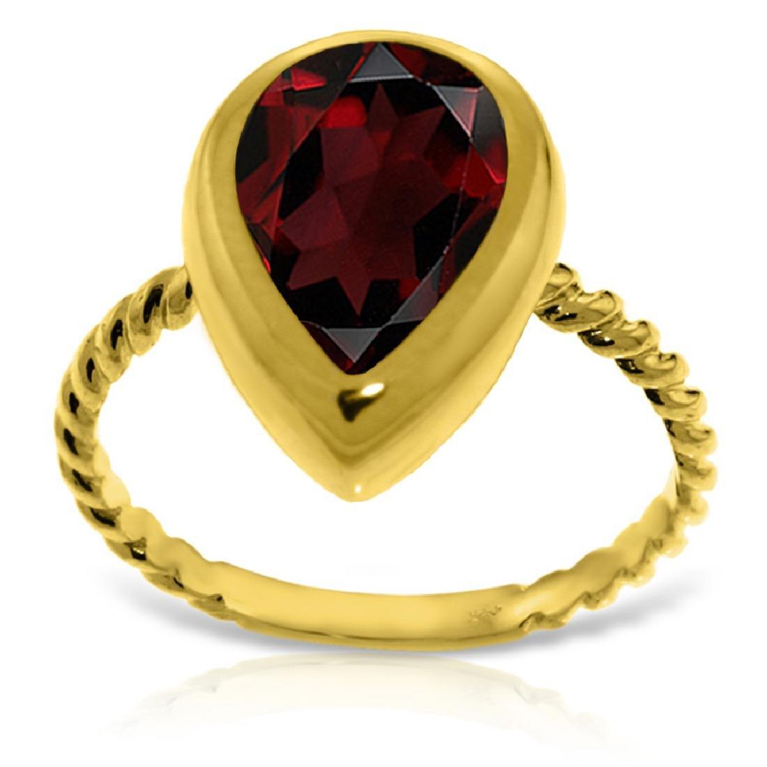 Genuine 3.5 ctw Garnet Ring Jewelry 14KT Yellow Gold -