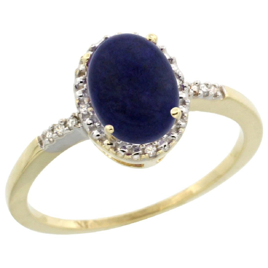 Natural 1.03 ctw Lapis & Diamond Engagement Ring 10K
