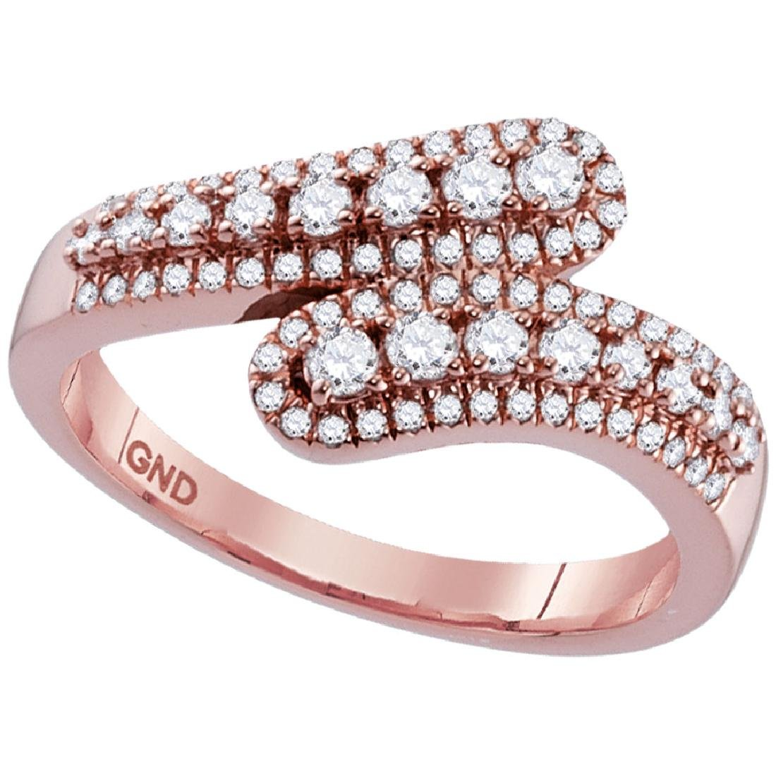 0.49 CTW Diamond Bypass Ring 10KT Rose Gold - REF-41Y9X