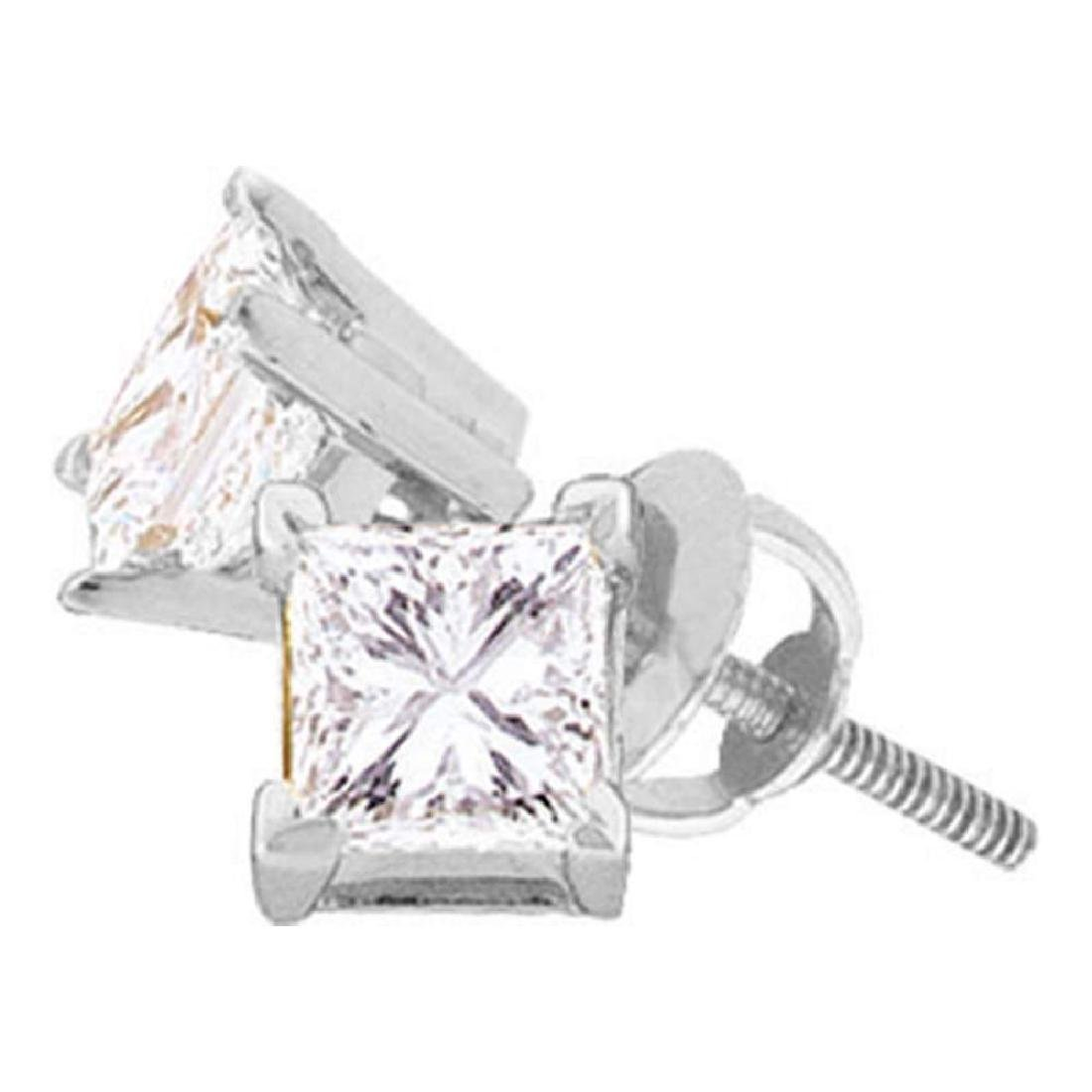 0.20 CTW Princess Diamond Solitaire Studs Earrings 14KT