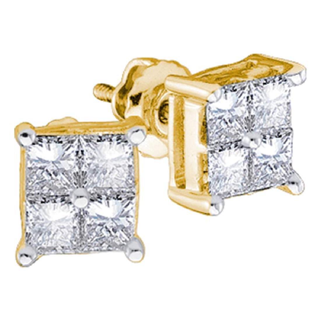 0.25 CTW Princess Diamond Square Cluster Stud Earrings