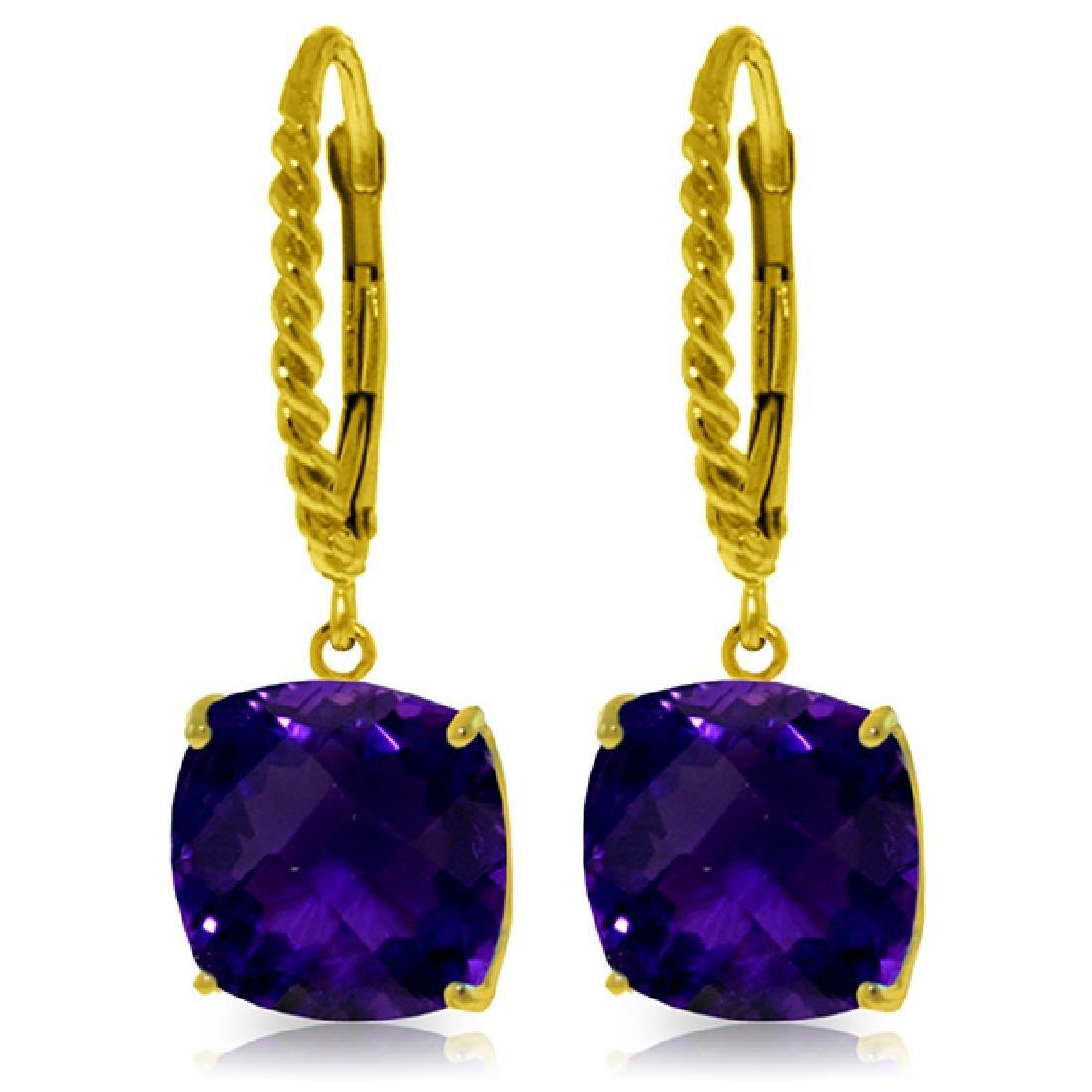 Genuine 7.2 ctw Amethyst Earrings Jewelry 14KT Yellow