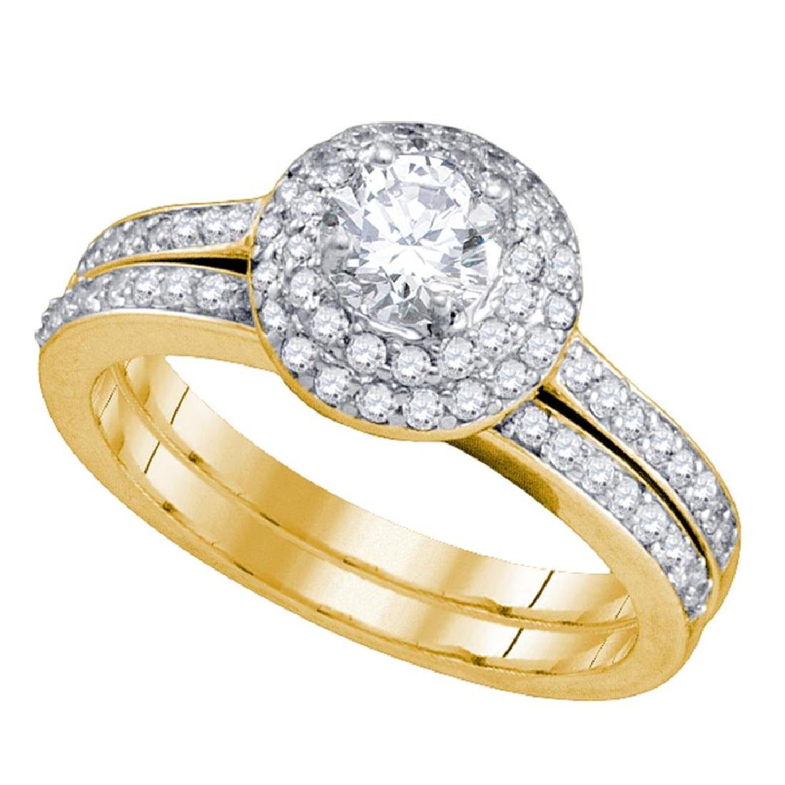 1 CTW Diamond Halo Bridal Engagement Ring 14KT Yellow
