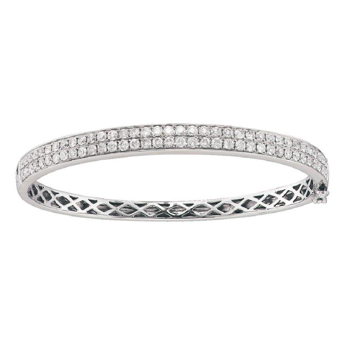 2 CTW Diamond Classic Double Row Bangle Bracelet 14KT