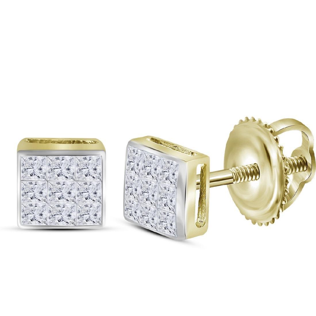 0.24 CTW Princess Diamond Square Cluster Stud Earrings