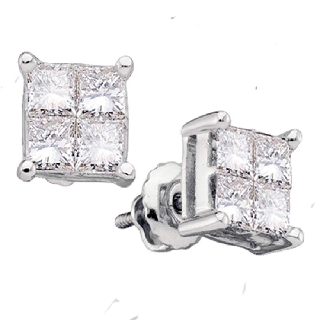 0.25 CTW Princess Diamond Square Cluster Stud Earrings