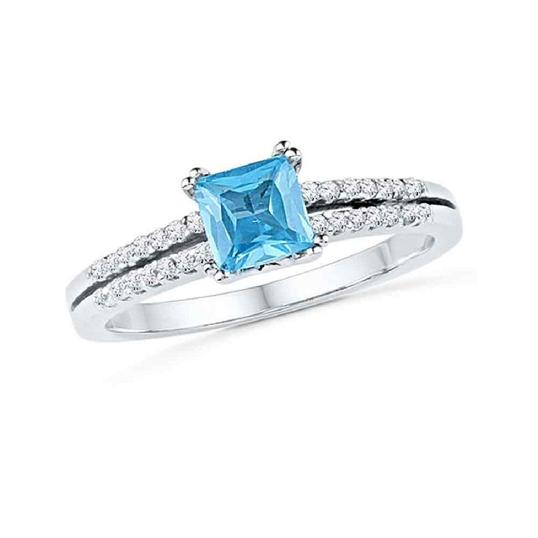 0.65 CTW Princess Created Blue Topaz Solitaire Ring